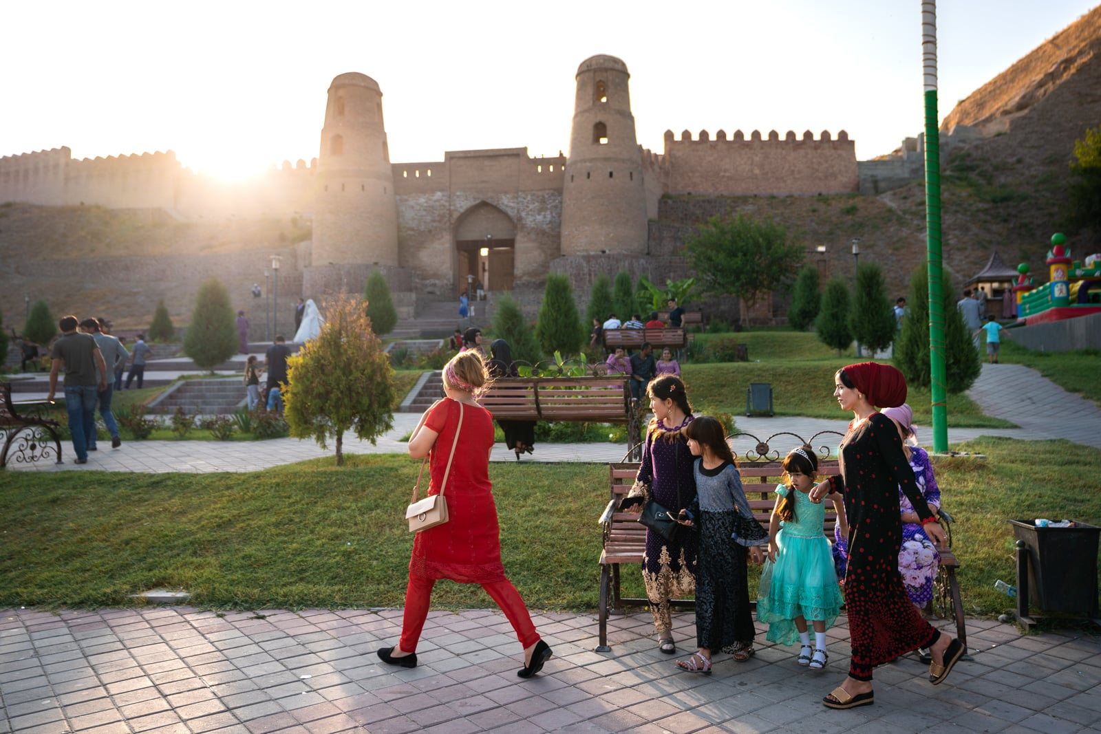 Tajik women outside Hisor Fort in Dushanbe, Tajikistan