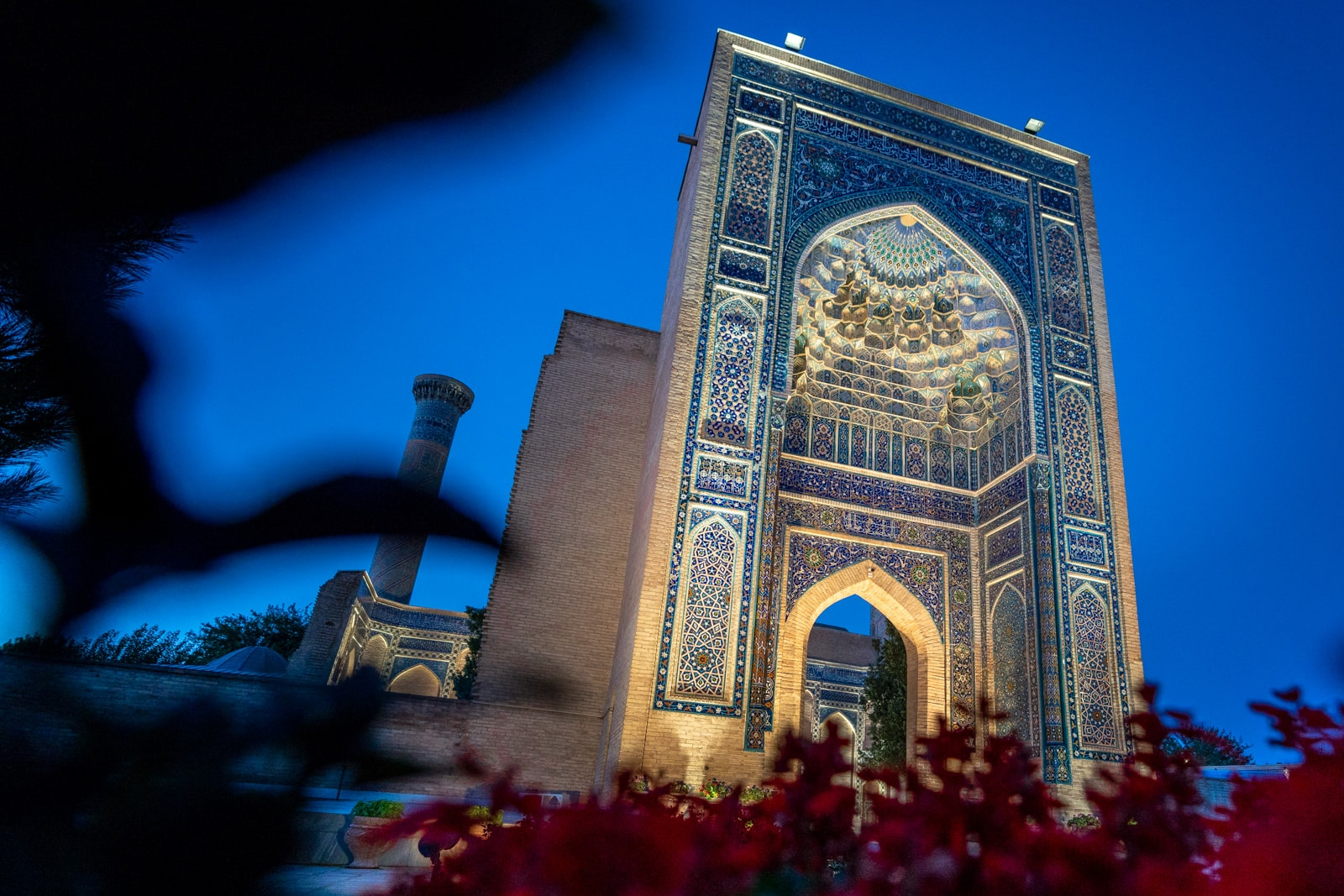 Gur-e-Amir mausoleum during blue hour before sunrise