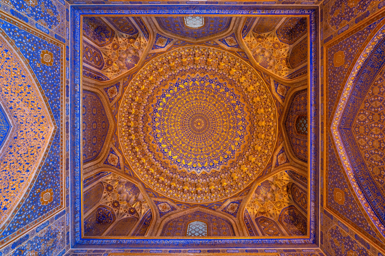 Golden ceiling of the Tilla-Kari Madrassa in the Registan in Samarkand, Uzbekistan