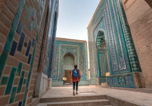 Girl walking in the Shah-i-Zinda necropolis in Samarkand, Uzbekistan