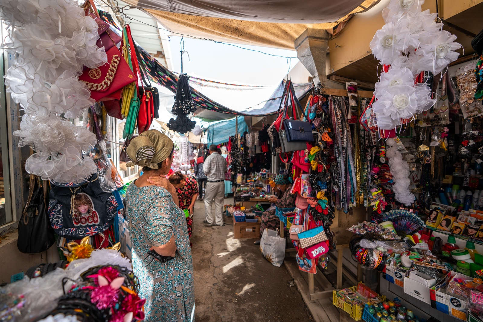 Woman in the women's section of Panjakent Bazaar, Tajikistan