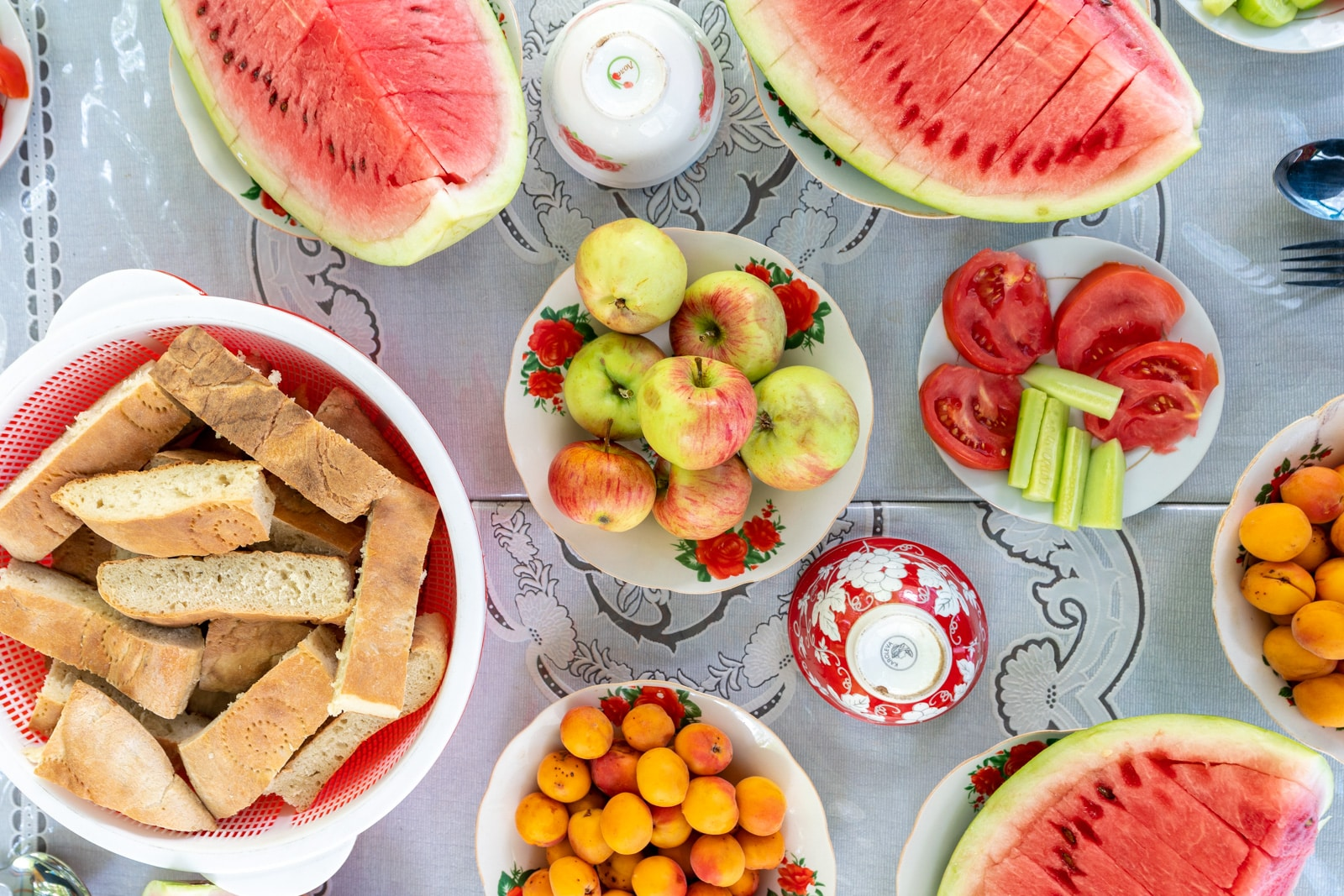 Fresh fruit spread at a Tajikistan homestay
