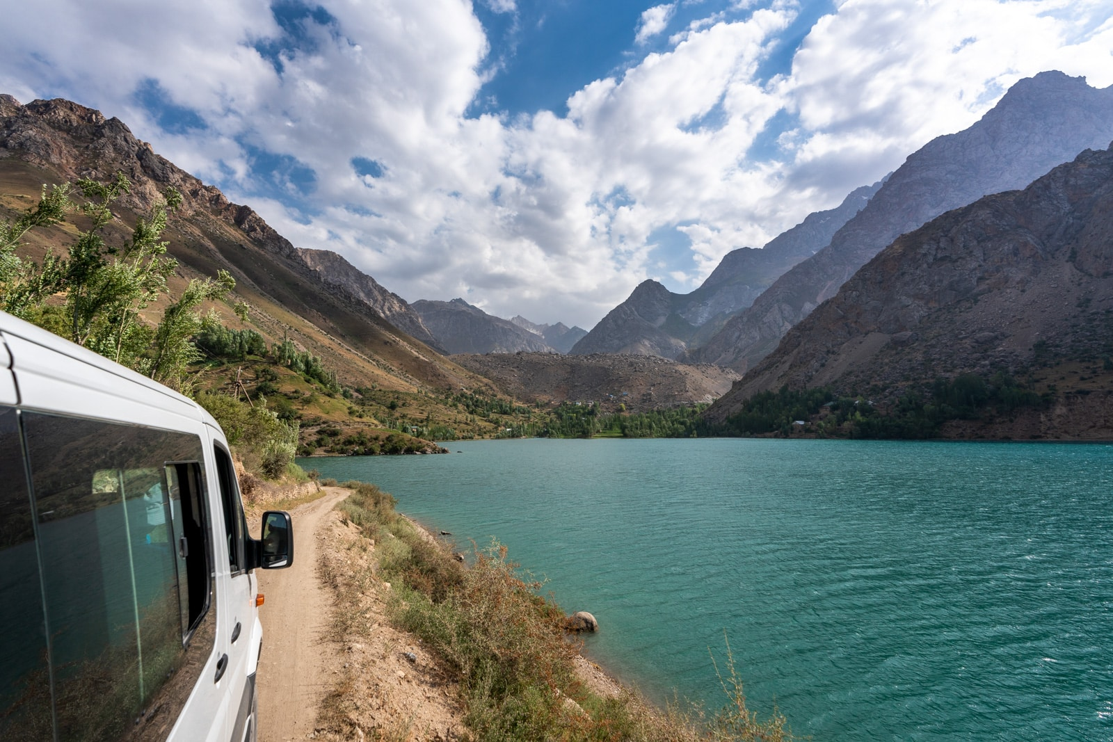 Car driving to the Haft Kol in Western Tajikistan