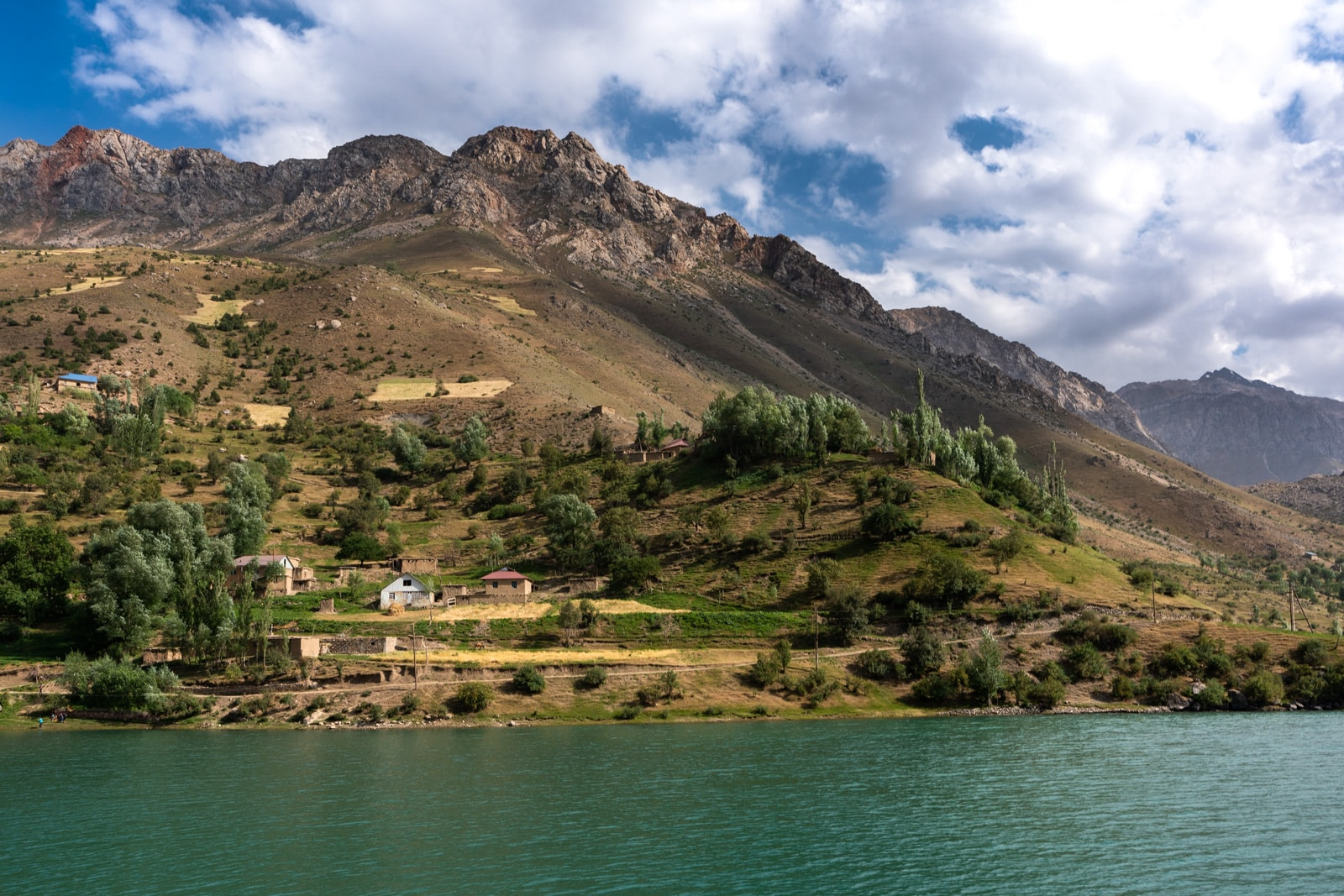 Village alongside one of Tajikistan's seven lakes