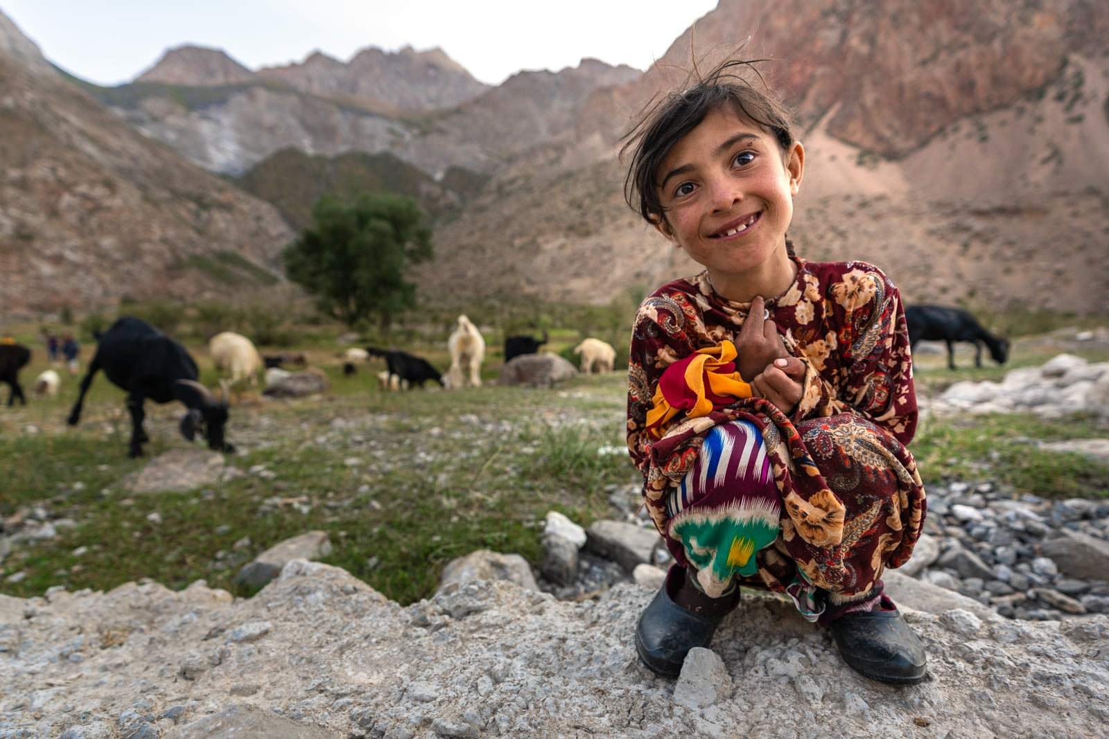 Local shepherd girl in Haft Kol, Tajikistan