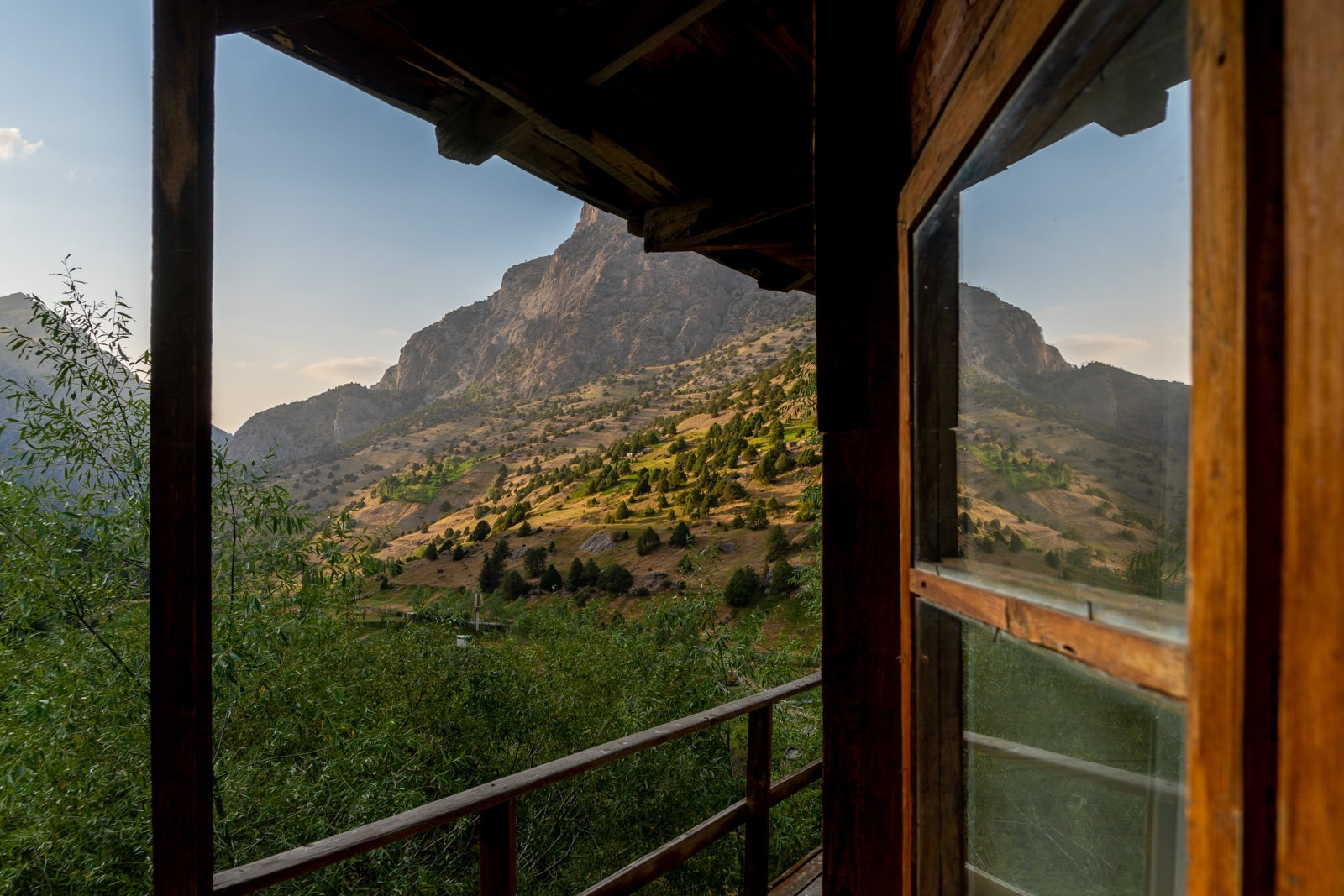 Sunset view from Artuch Camp Alplager in Tajikistan's Fann Mountains