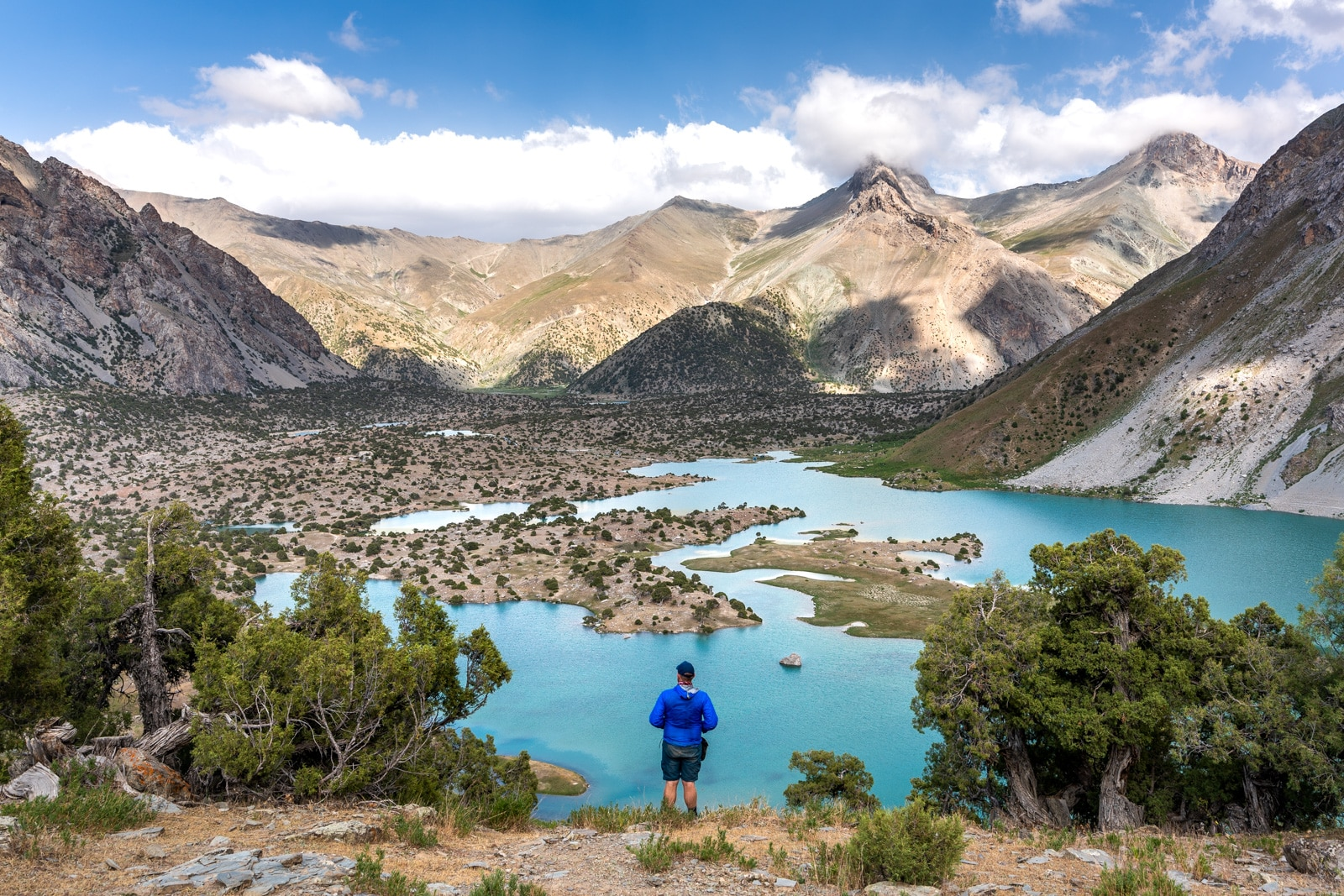 Man standing in front of Kulikalon Lake in Western Tajikistan