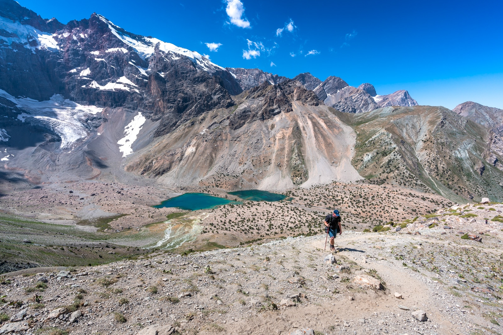 Man trekking through Tajikistan's Fann Mountains