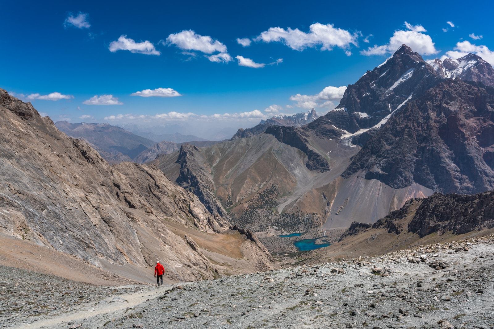 Trekker at Alauddin Pass in Western Tajikistan