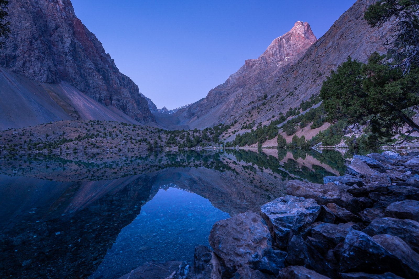 Blue hour over Alauddin Lake in Western Tajikistan