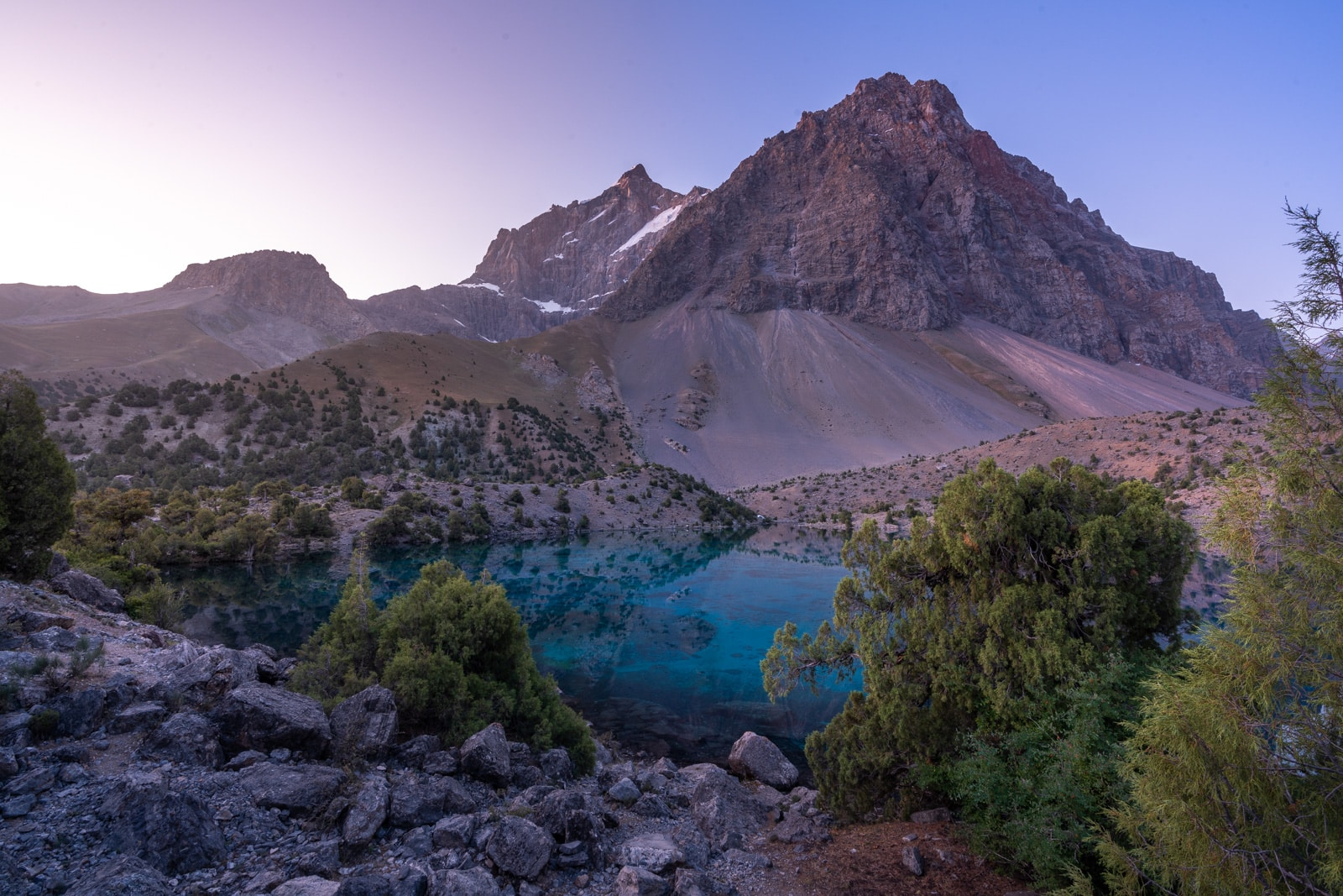 Guitar lake in Tajikistan's Fann Mountains