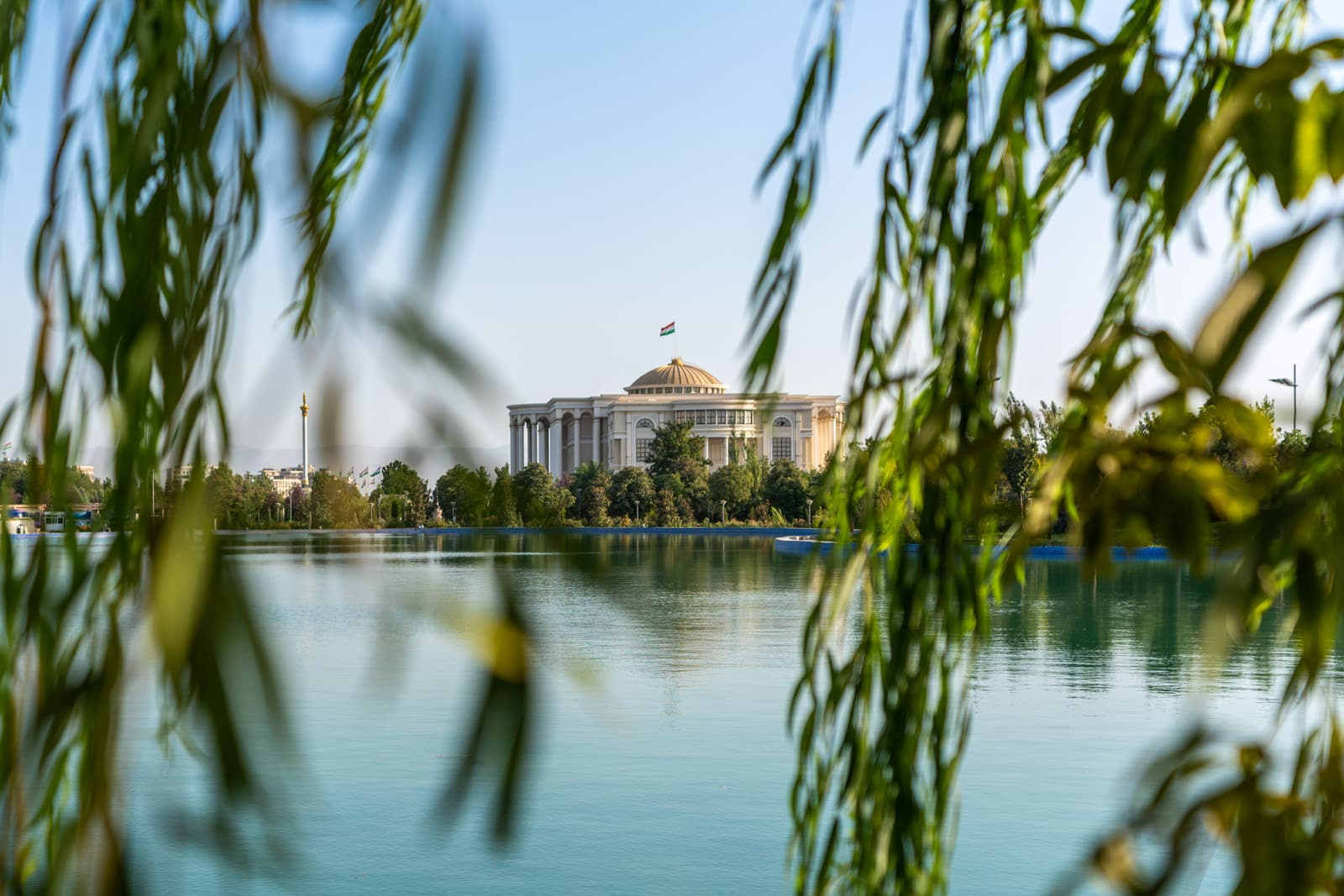 View of the Palace of Nations from Rudaki Park in Dushanbe, Tajikistan