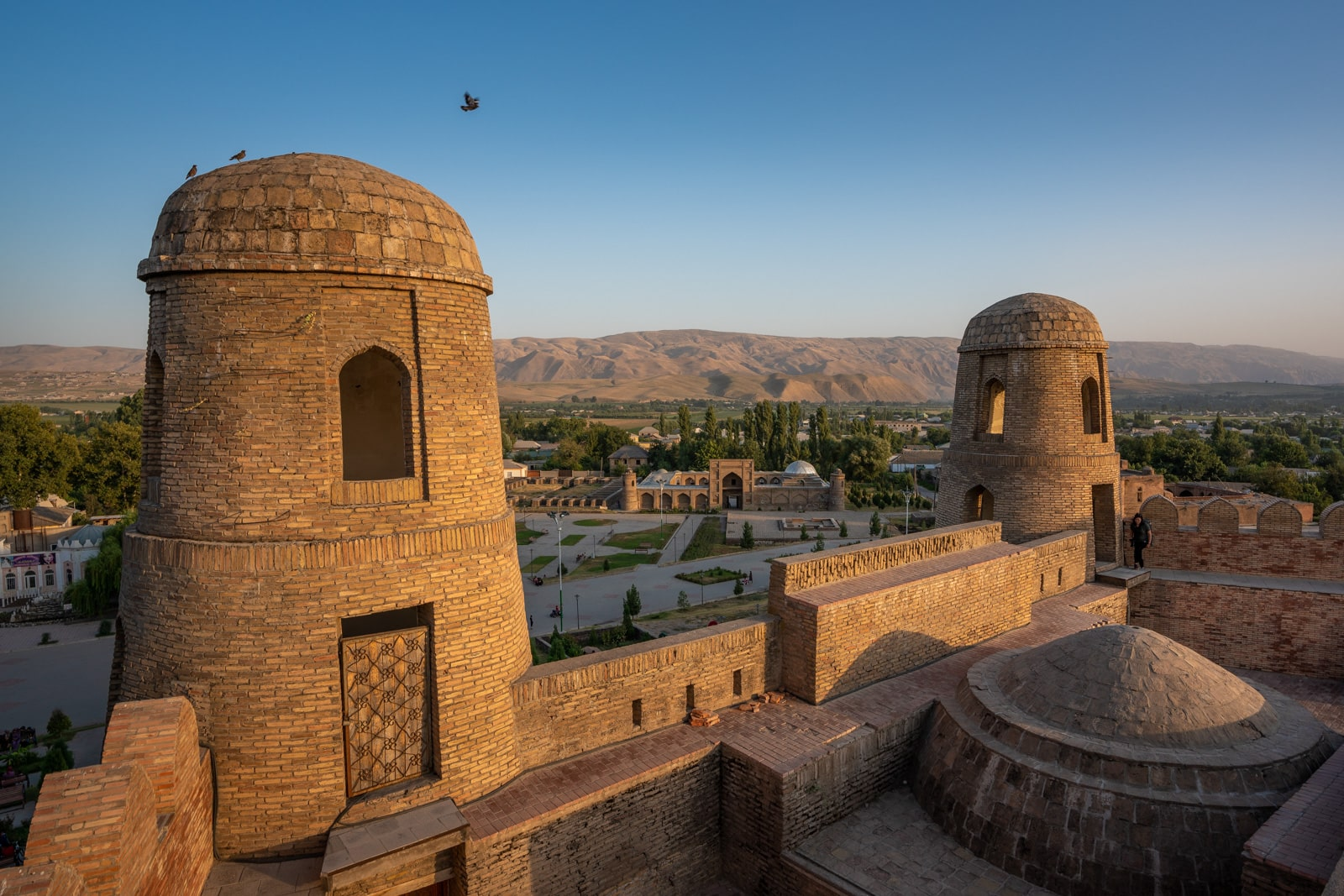 View from Hissar Fort in Dushanbe, Tajikistan at sunset