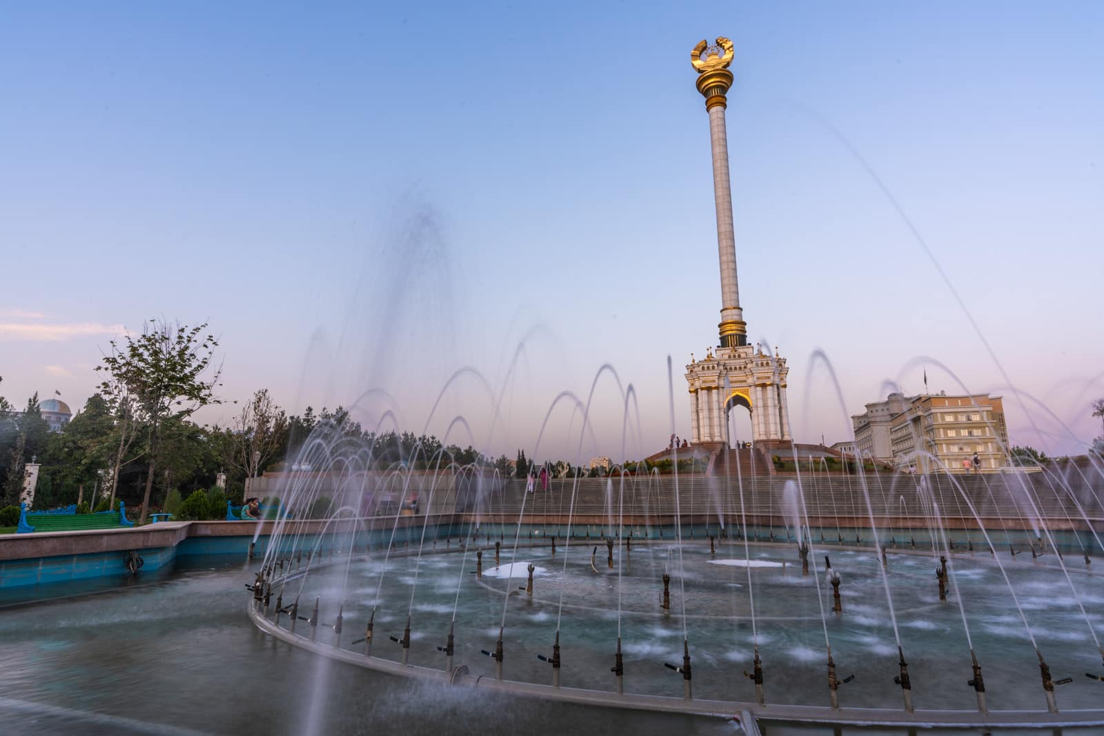 Fountains in front of Independence Monument in Dushanbe, Tajikistan