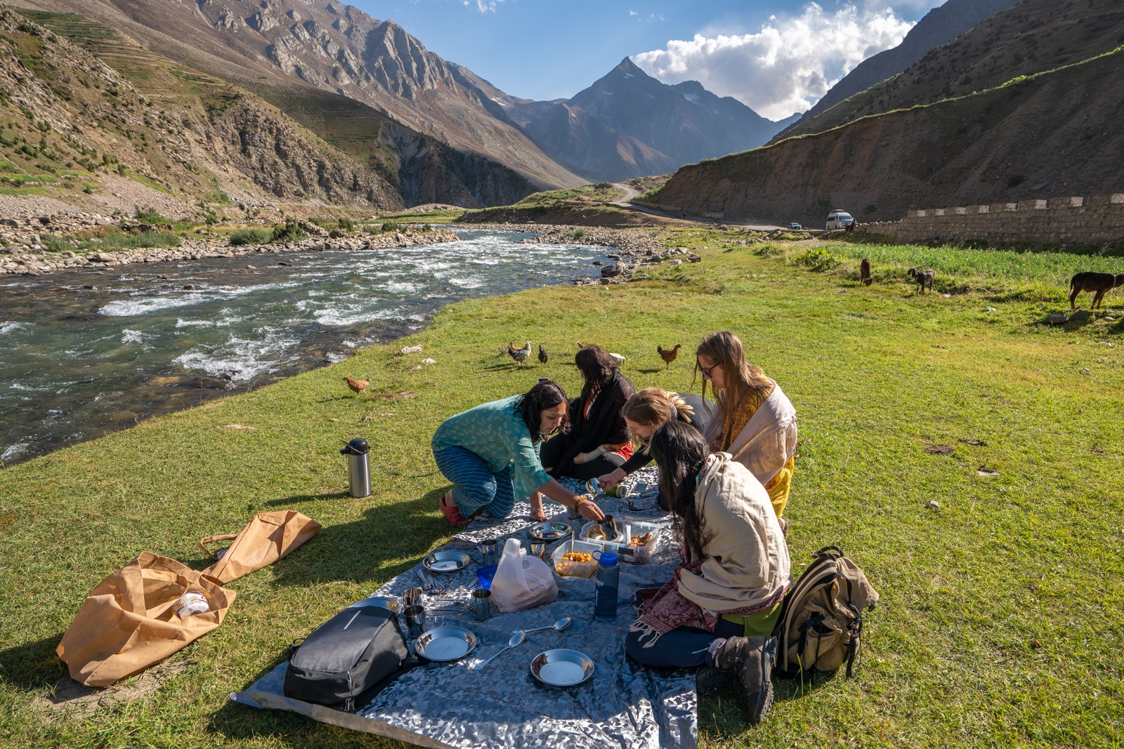 Women having a picnic lunch in Pakistan