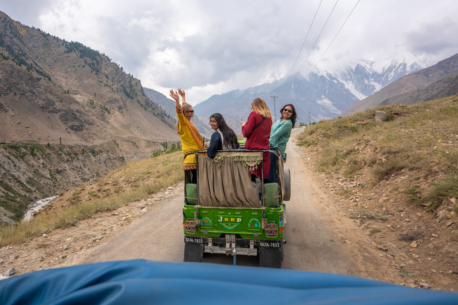 Girls riding in a private jeep in Astore, Pakistan