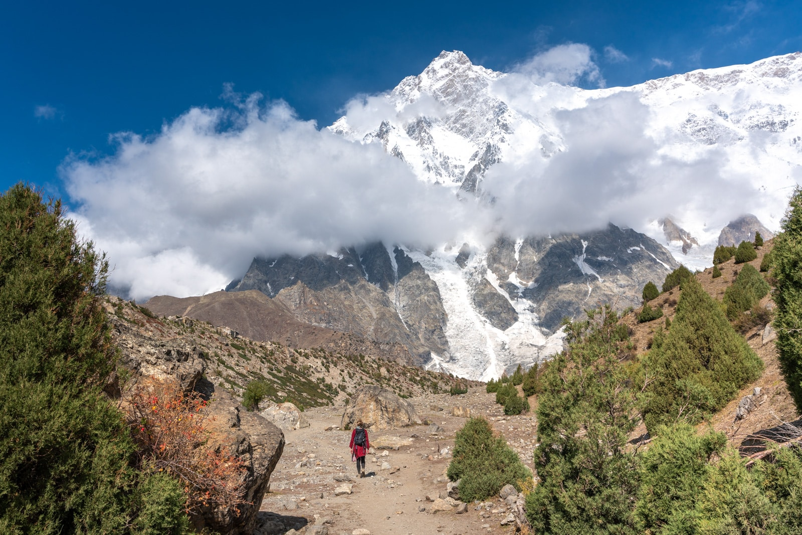 Girl trekking to Nanga Parbat Base Camp in Astore, Pakistan