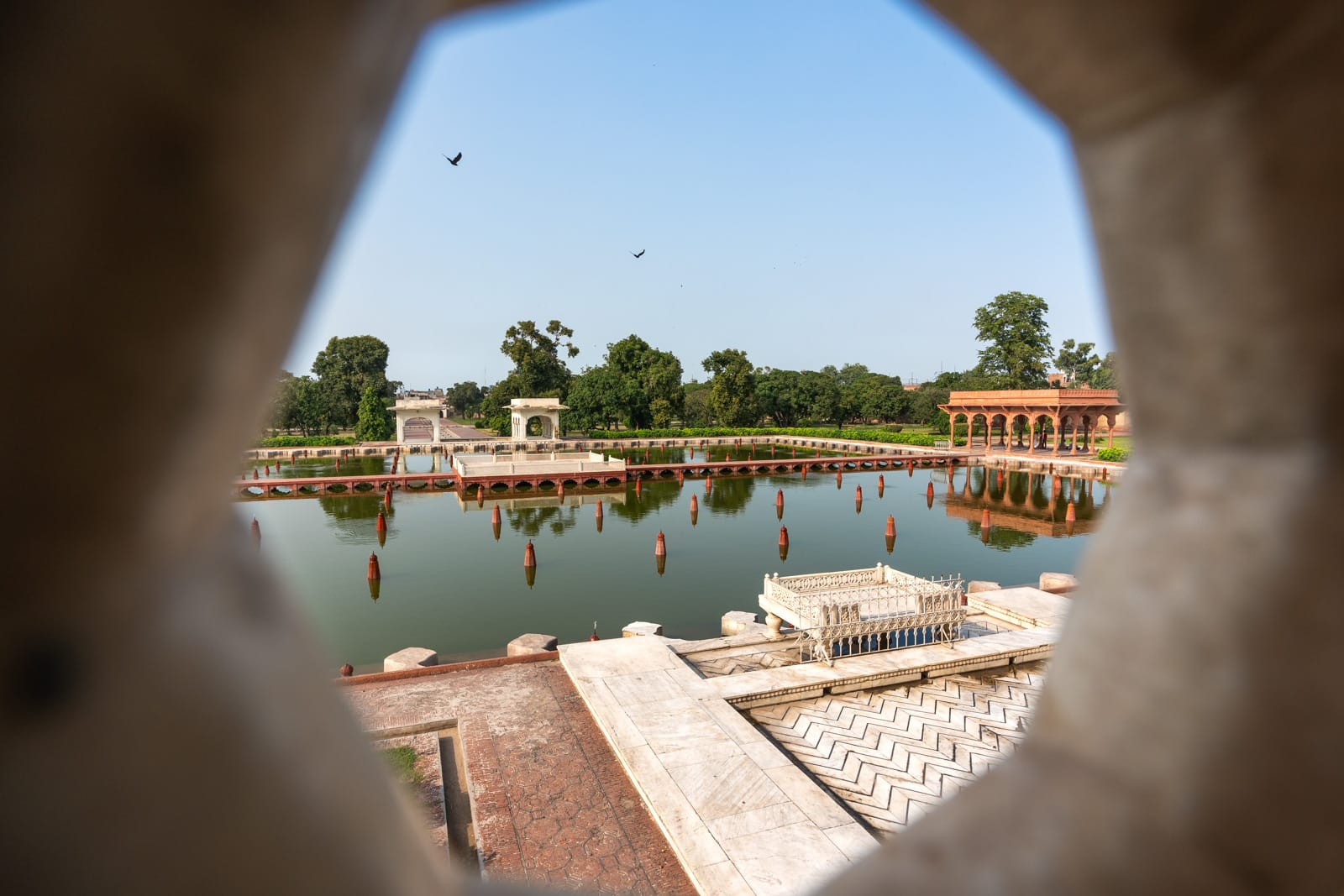 View through hole of Shalimar Gardens in Lahore, Pakistan