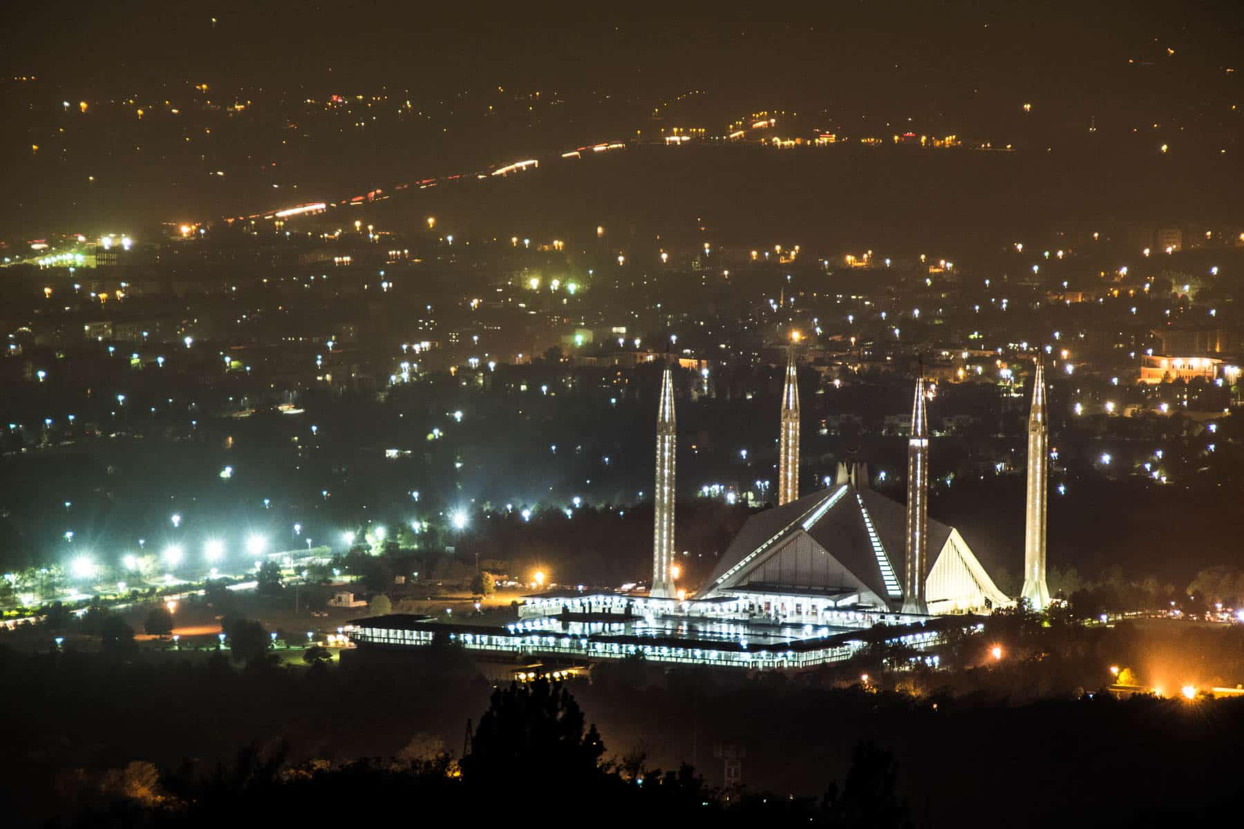 Islamabad, Pakistan from above at night