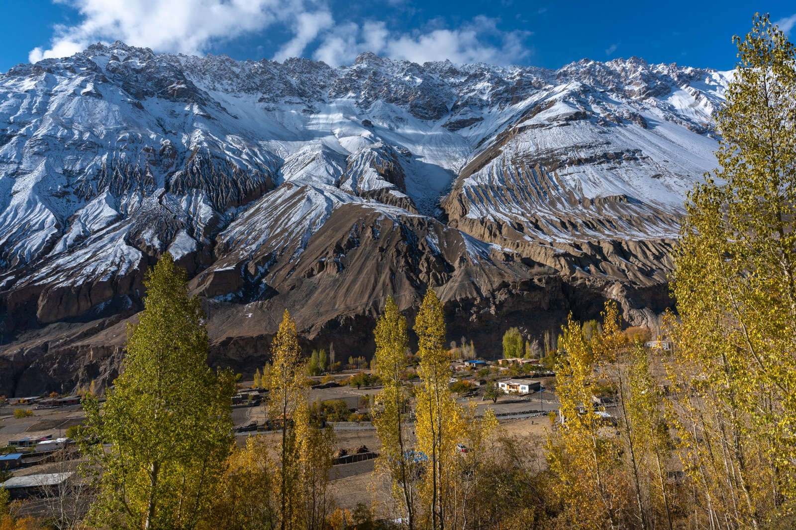 Autumn colors and snowy mountains in Misgar Valley, Pakistan