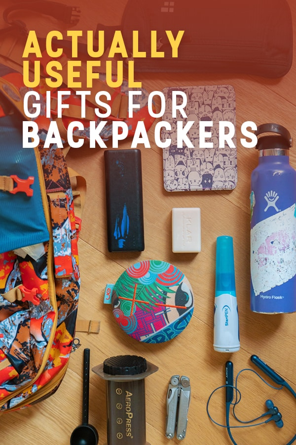 Need to buy a gift for a backpacker or traveler? Forget lame gift lists, here's a list of actually useful gift ideas for travelers and backpackers, straight from a full-time backpacker. All of these items are light, affordable, and important to pack for any long-term backpacking trip or travels. Read on for this backpacker's suggestions! #backpacking #gifts #travel