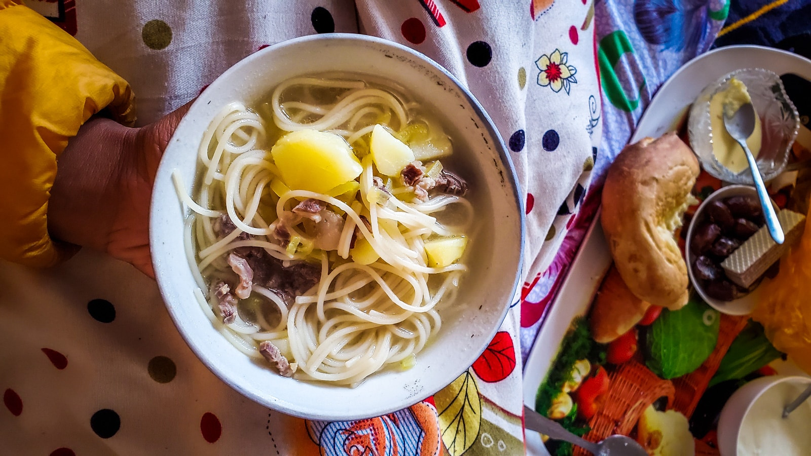 Bowl of mutton noodle soup in Shaimak, Tajikistan