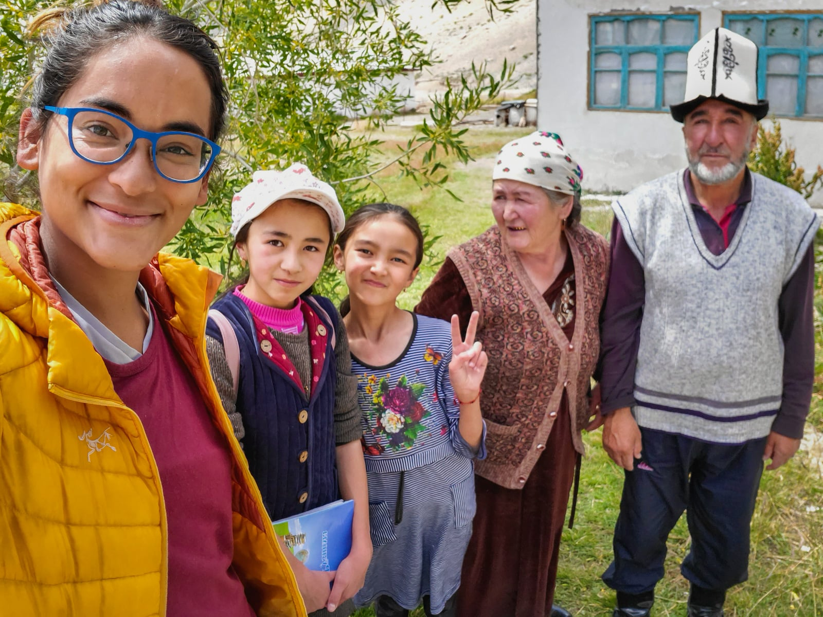 Selfie with homestay family in Shaimak village, Tajikistan