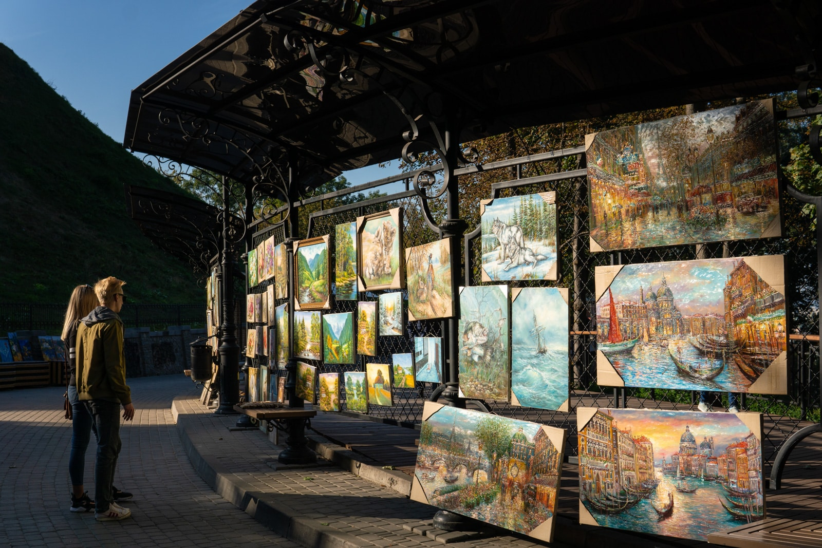 Art for sale in the Podil area of Kyiv, Ukraine