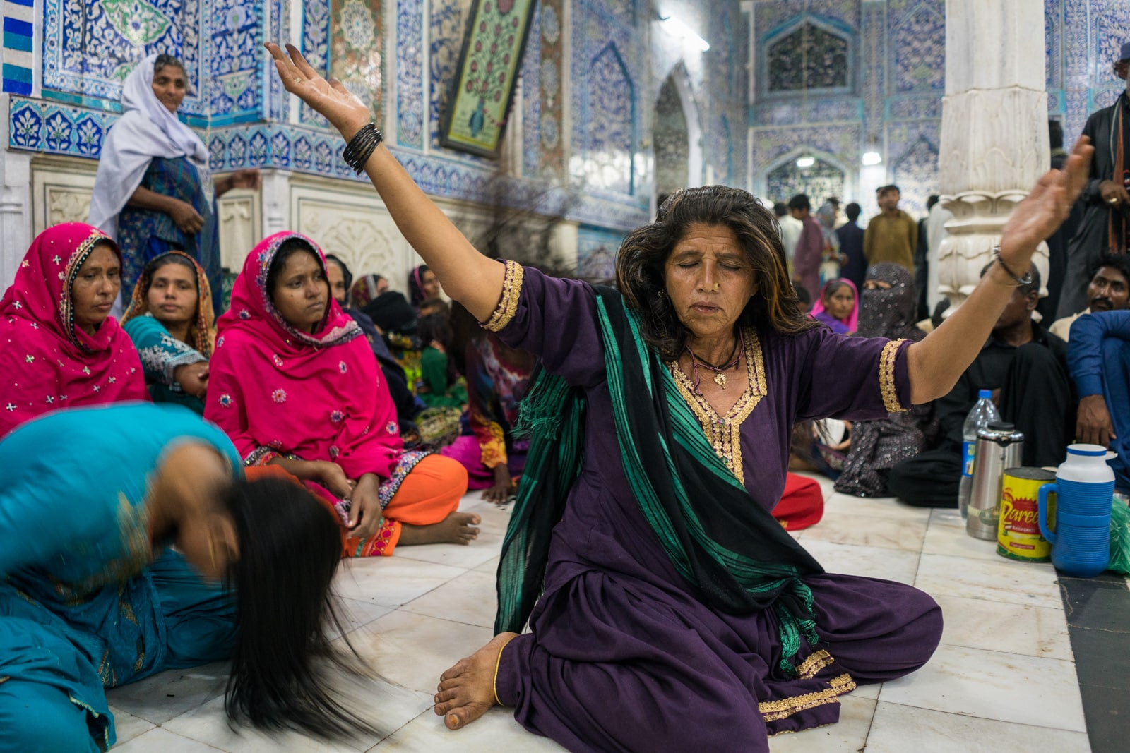 Woman in a trance in Bhit Shah, Pakistan