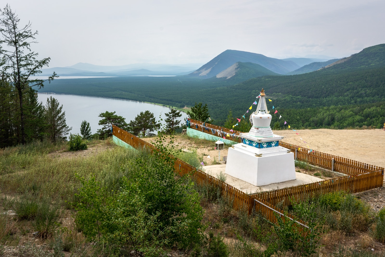 Buddhist stupa above north Lake Baikal in Siberia, Russia