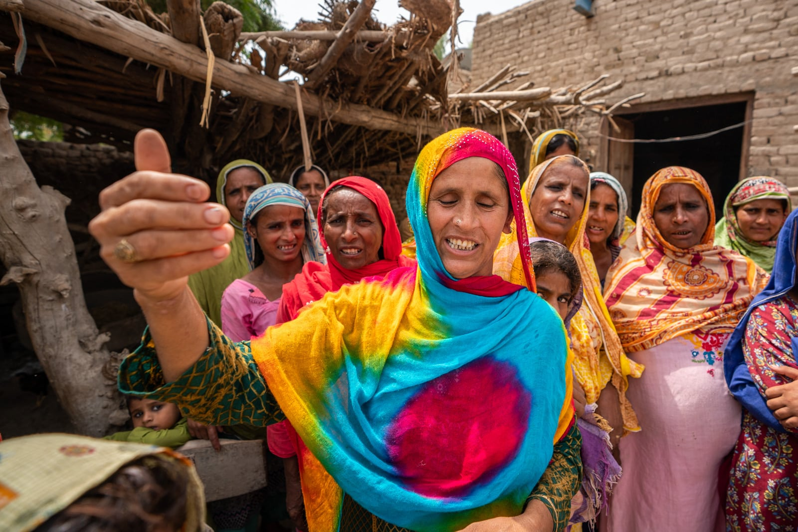 Colorful women singing in Sindh