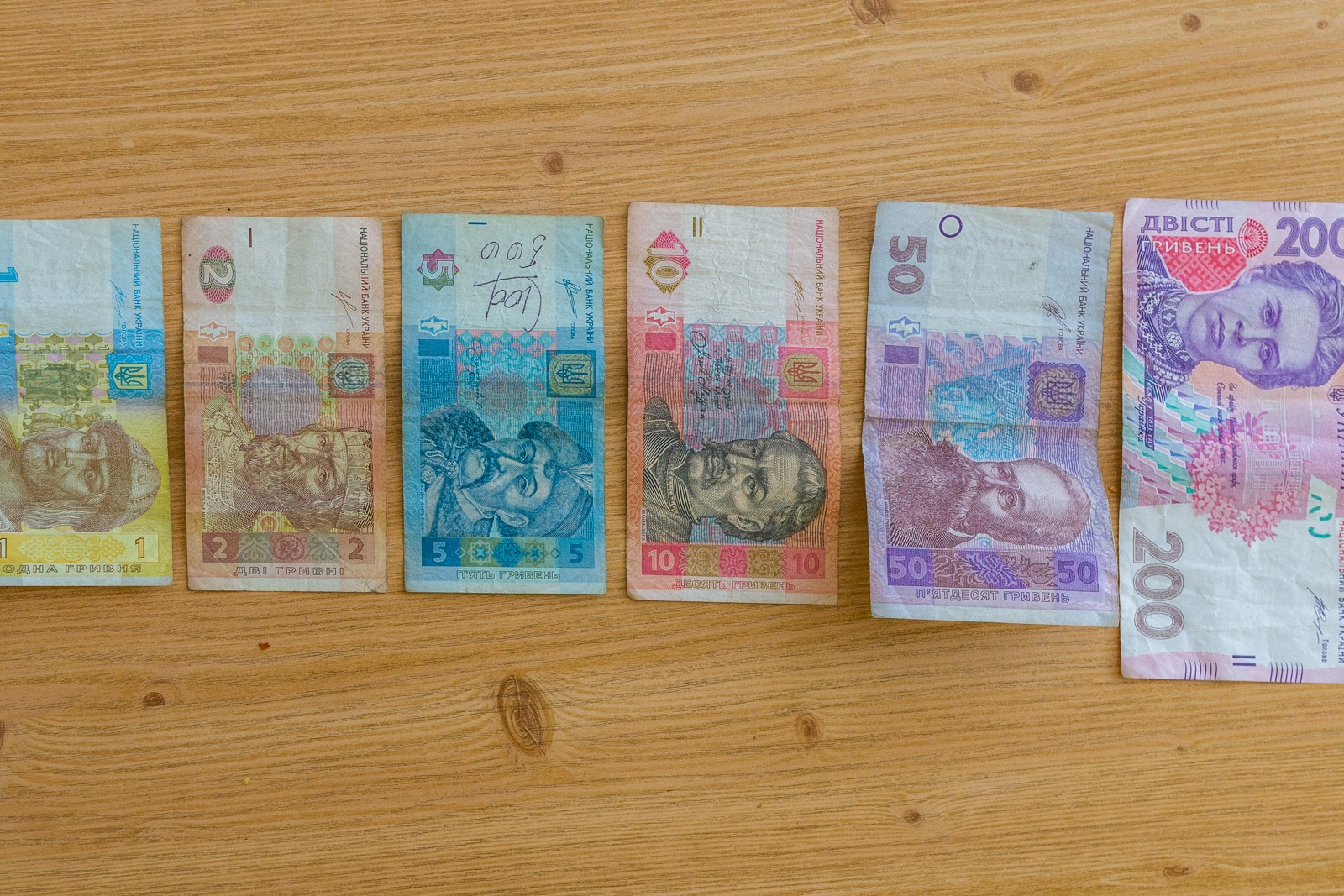 Ukrainian currency lined in a row