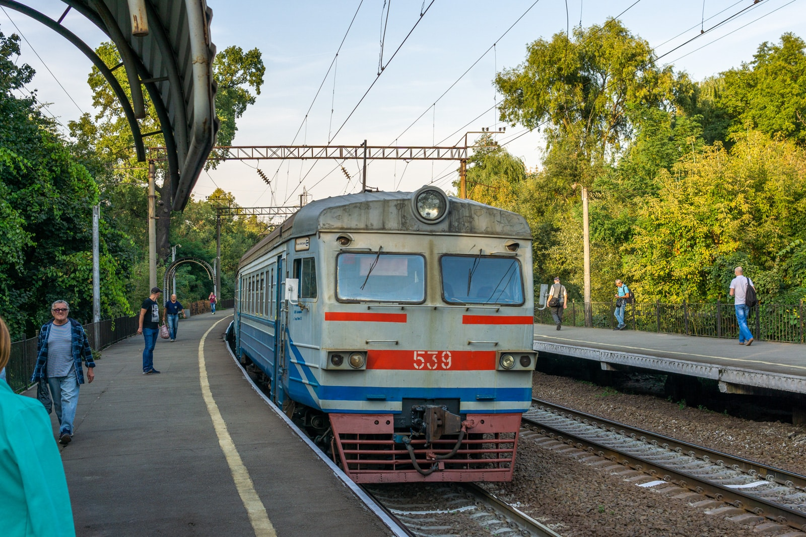 Ukrainian train in a station