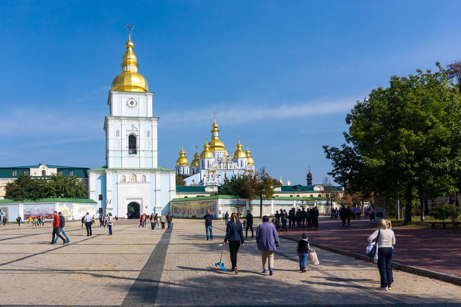Three day Kiev itinerary: people walking to St Michael's church in Kyiv, Ukraine