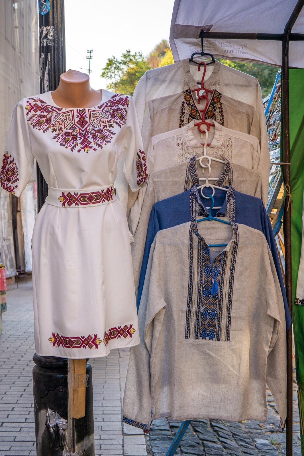 Traditional Ukrainian men and women's clothes in Kiev