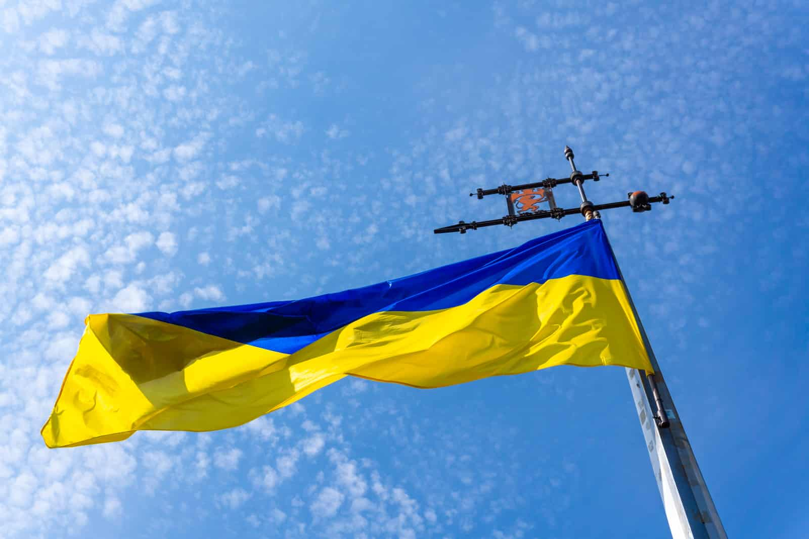 Ukrainian flag in the sky