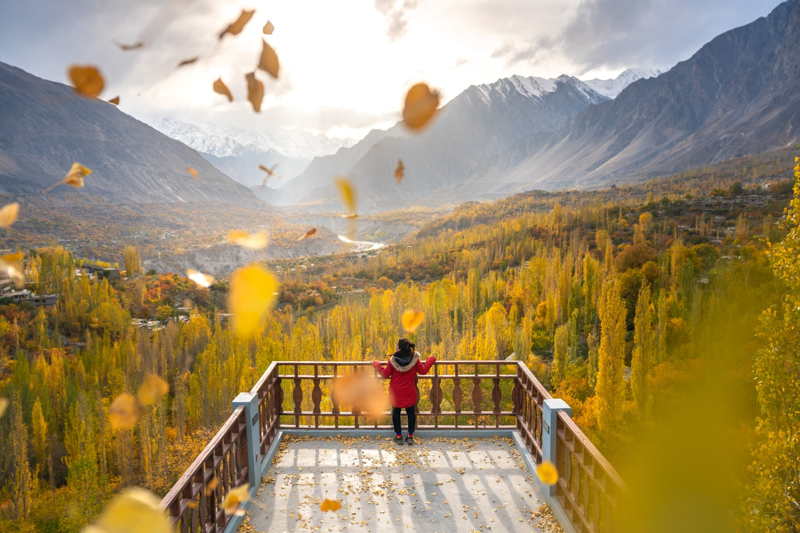 Pakistani female traveler in Hunza during autumn