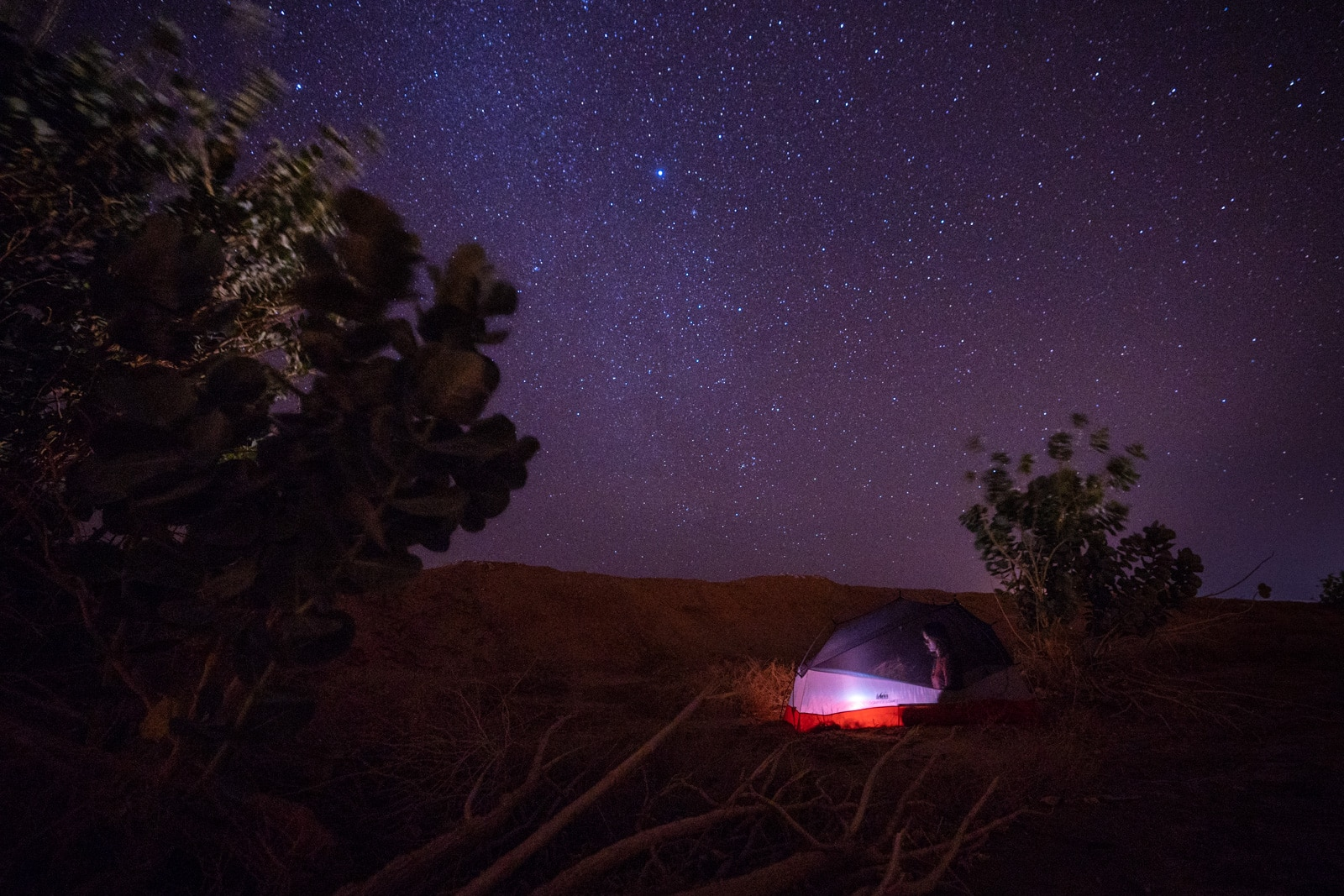 Girl camping on roadside in Saudi Arabia