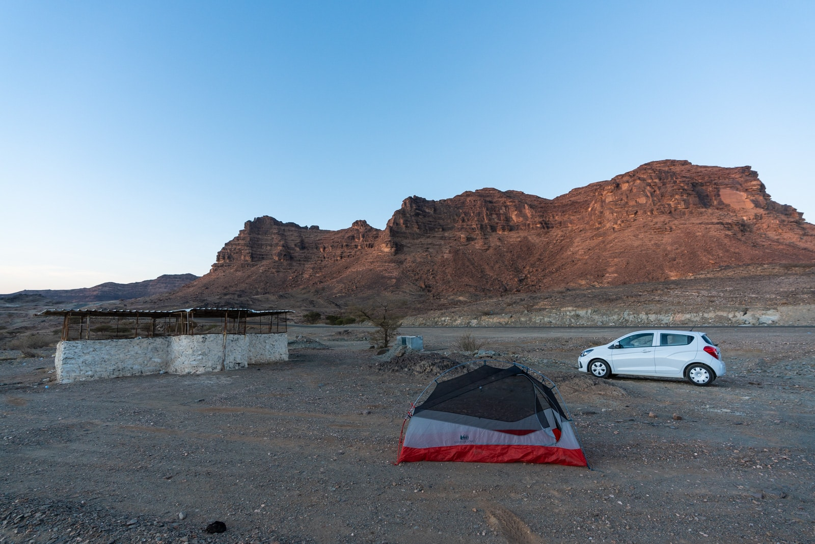 Camping in Saudi Arabia near a prayer room