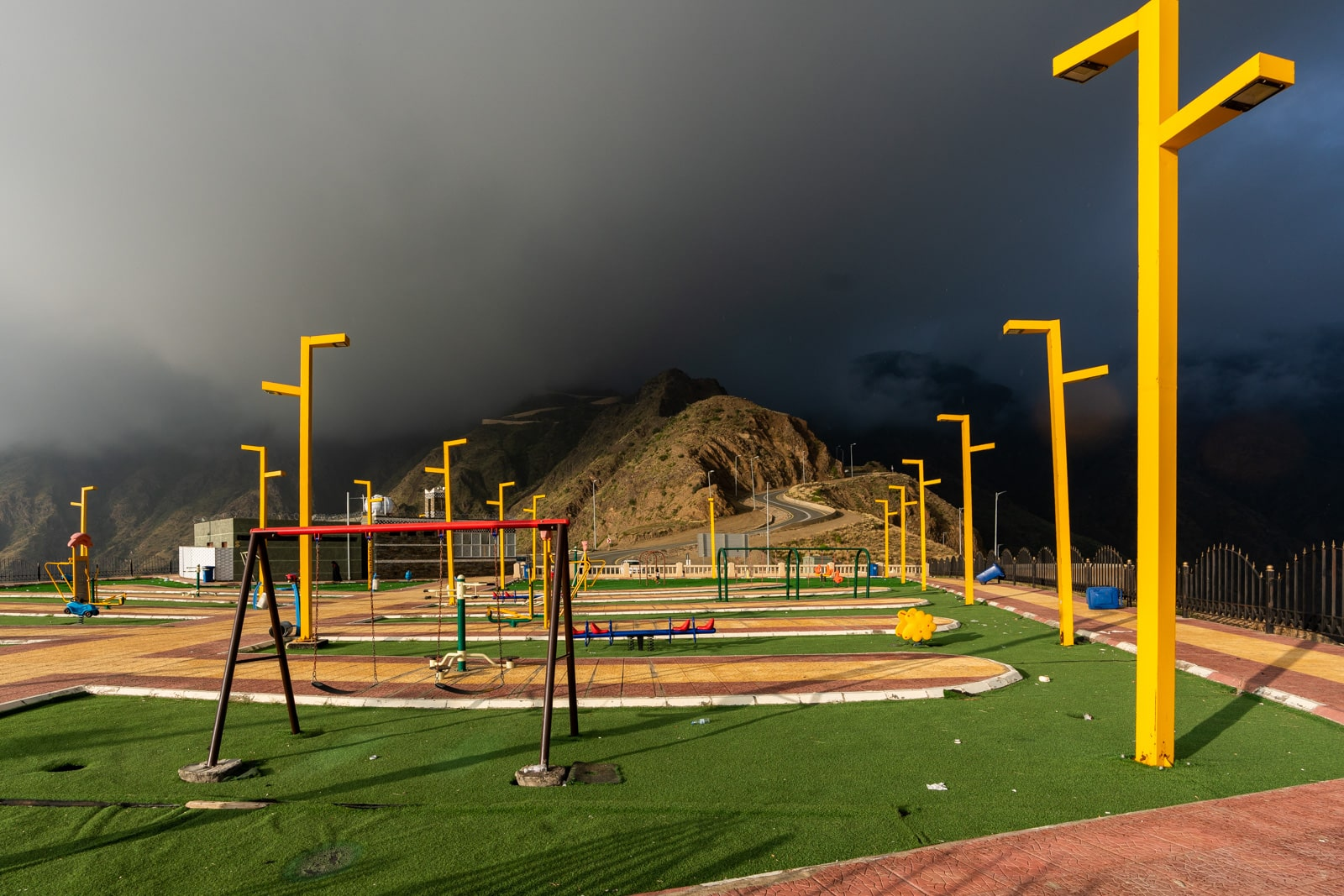 Apocalyptic playground on a mountain top in Asir province, Saudi Arabia