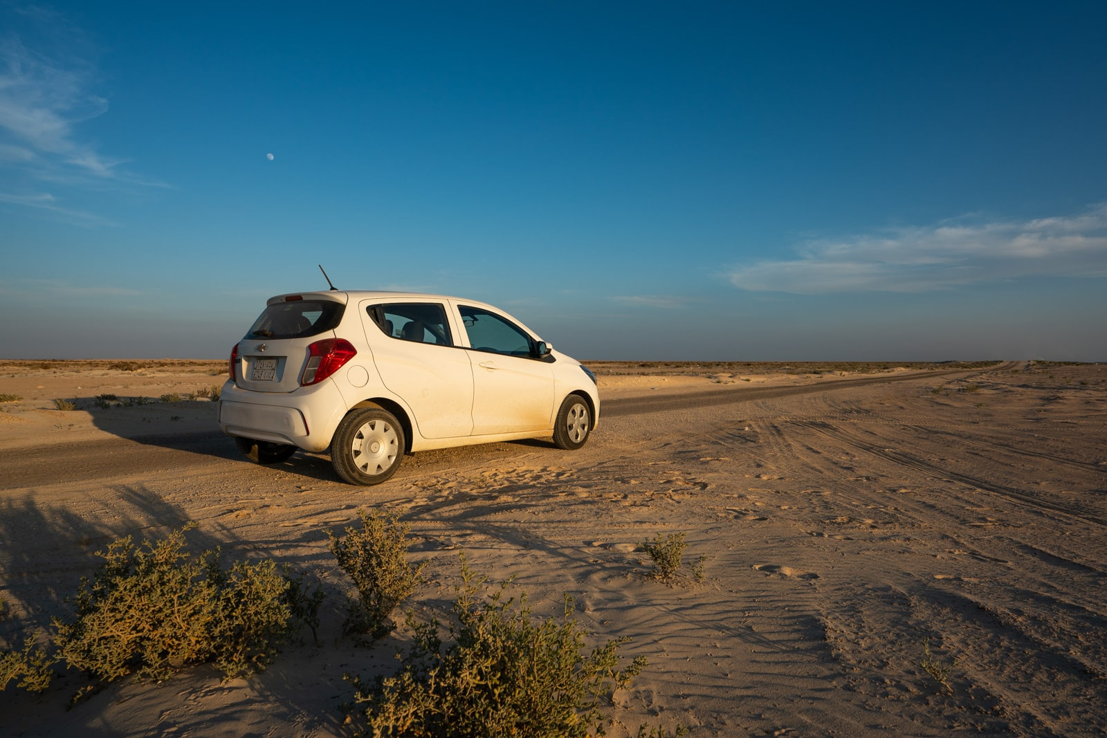 Chevorlet Spark rented in Saudi Arabia for a road trip