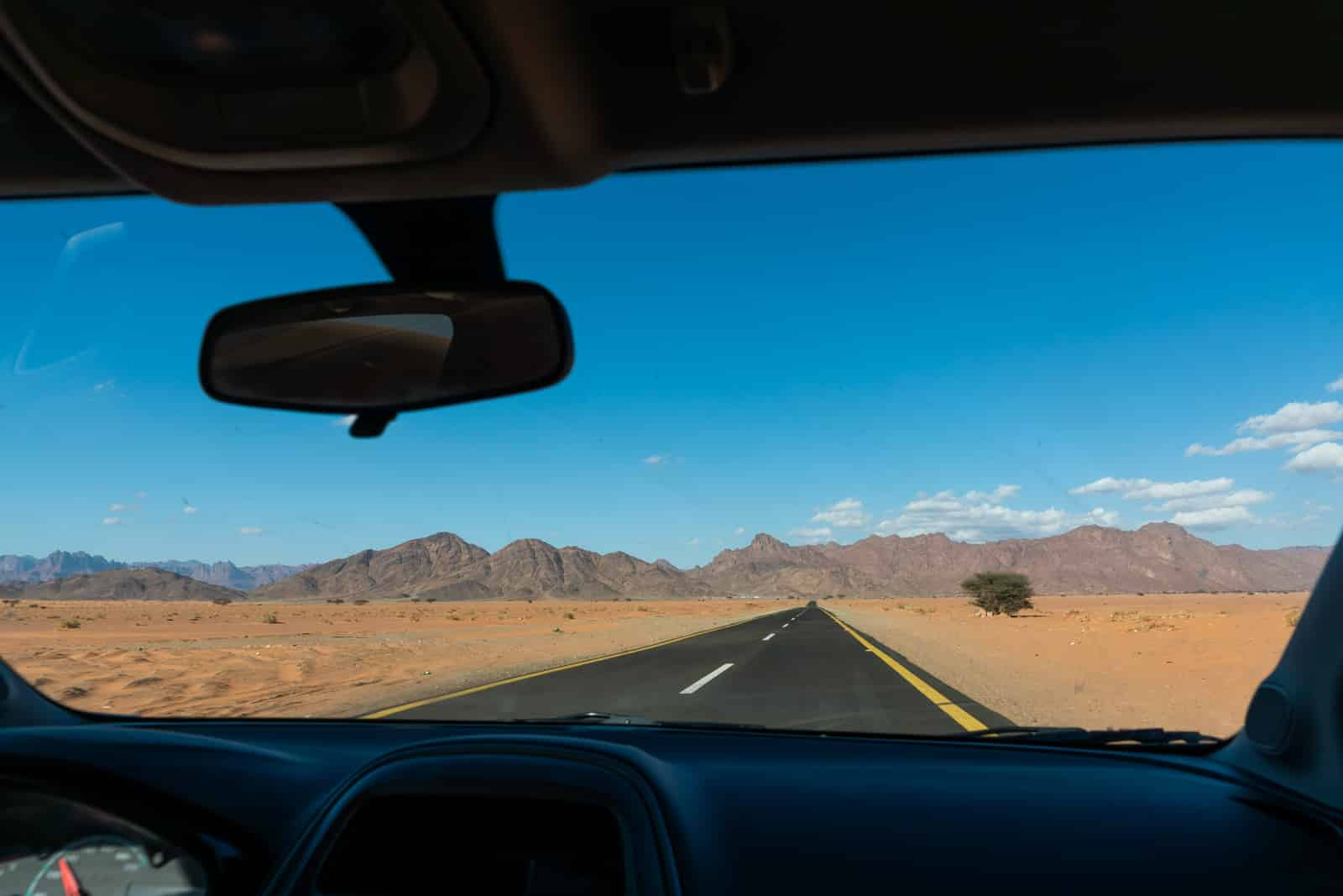 View of driving in Saudi Arabia