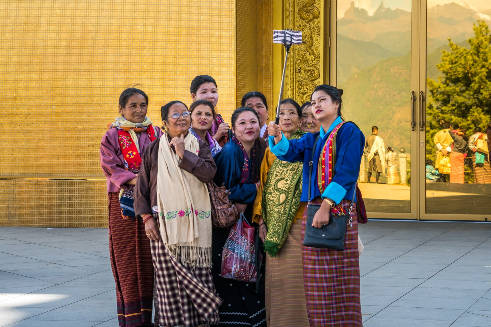 Bhutanese women taking a selfie in Thimphu