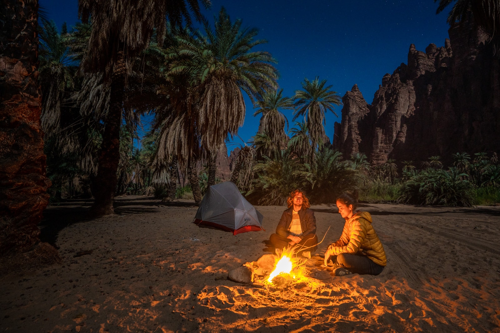 Camping in Wadi Disah, Saudi Arabia