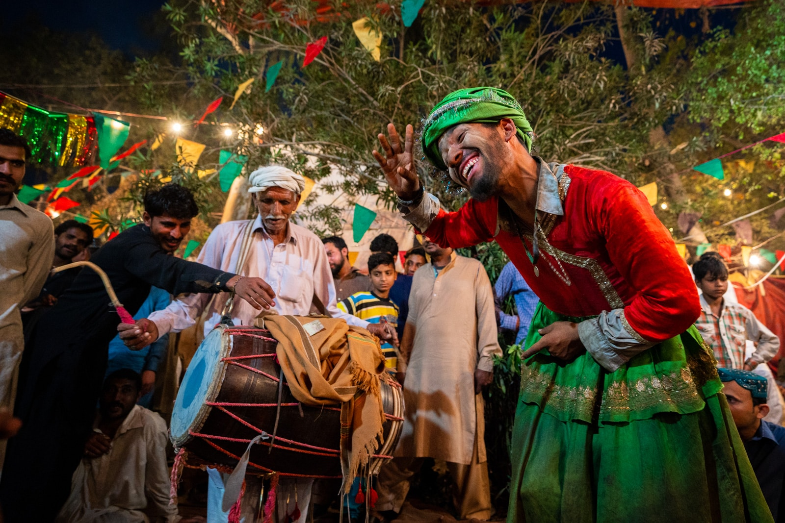 Sufi man dancing dhamal at the Mela Chiraghan in Lahore, Pakistan