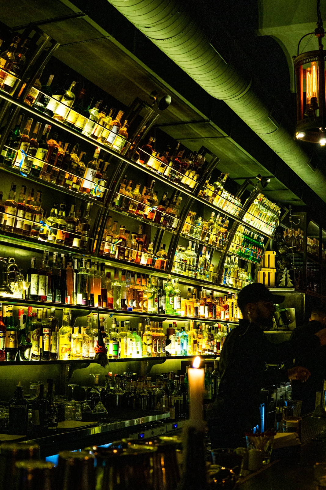 Interior of Dictat cocktail bar in Kyiv, Ukraine