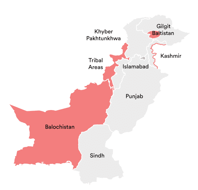 Rough map of dangerous areas for travel in Pakistan