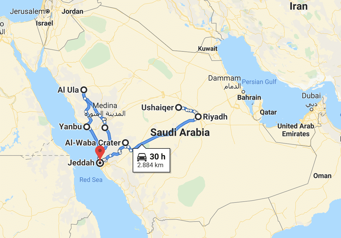Saudi road trip itinerary from Google Maps