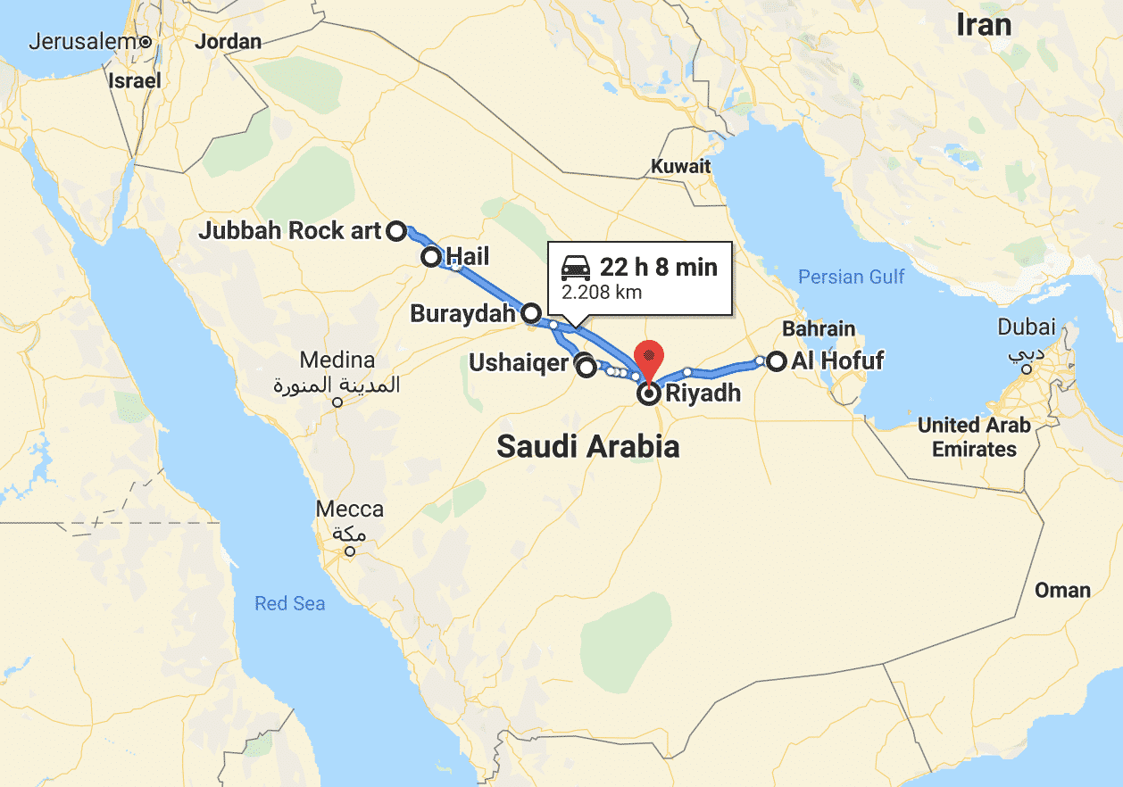 Saudi Arabia road trip map