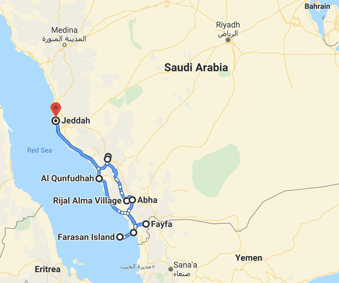 Southwest Saudi Arabia road trip map